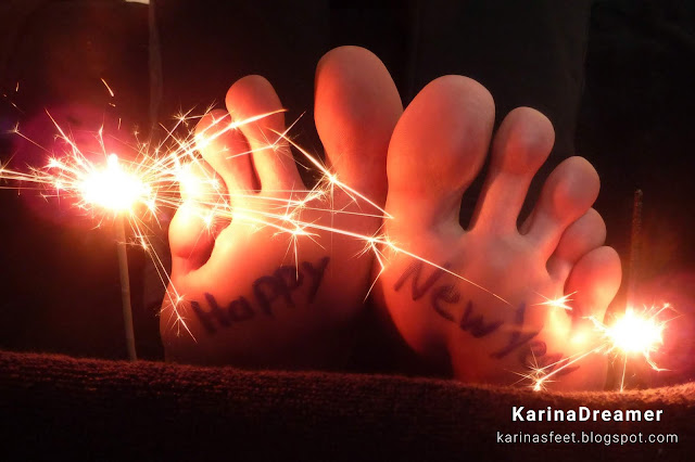 Foot model Karina's bare feet, soles, and toes, foot fetish greetings, happy new year feet
