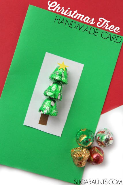 Kids will love to make and give this handmade Christmas Tree card using chocolate bells.