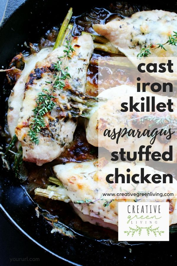 This easy asparagus and cheese stuffed chicken recipe is gluten free and keto. You only need one pan to make this easy low carb cast iron skillet chicken bake that you finish in the oven. For extra flavor, top with Italian cheese like Parmesan.
