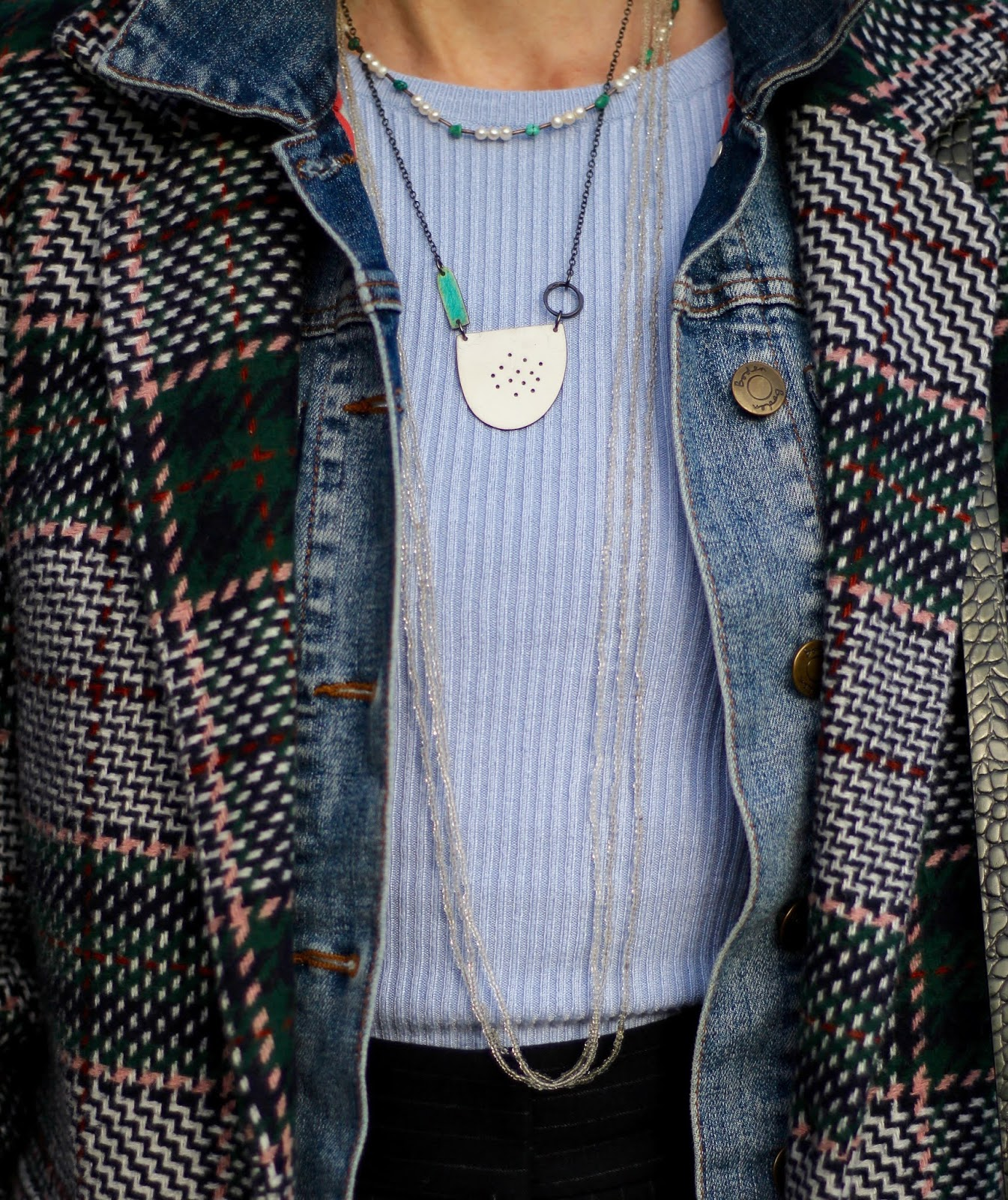 Winter Outfit | Layered Denim Jacket and Wool Coat | Fake Fabulous