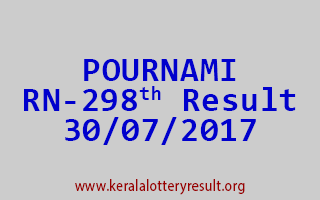 POURNAMI Lottery RN 298 Results 30-7-2017