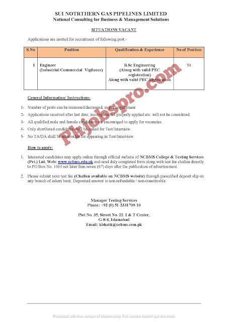 Latest Sui Gas Company jobs 2021