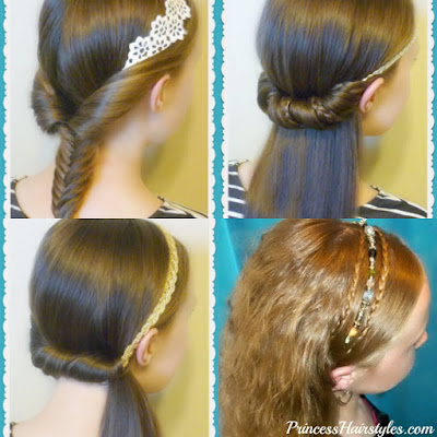 4 back to school hairstyles using headbands.
