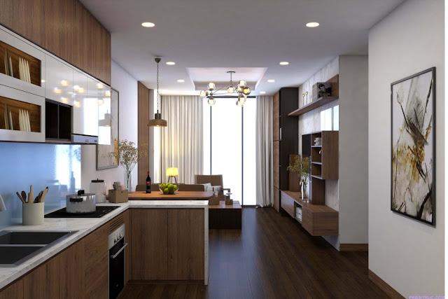 Phối cảnh render Nội thất phòng khách và bếp ăn căn hộ mẫu