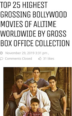 Top Bollywood movies all time box office collection