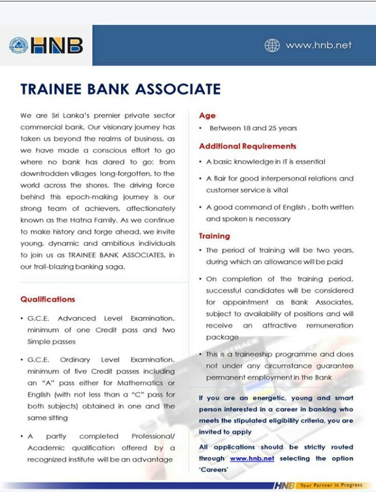 job vacancy in bank 2019