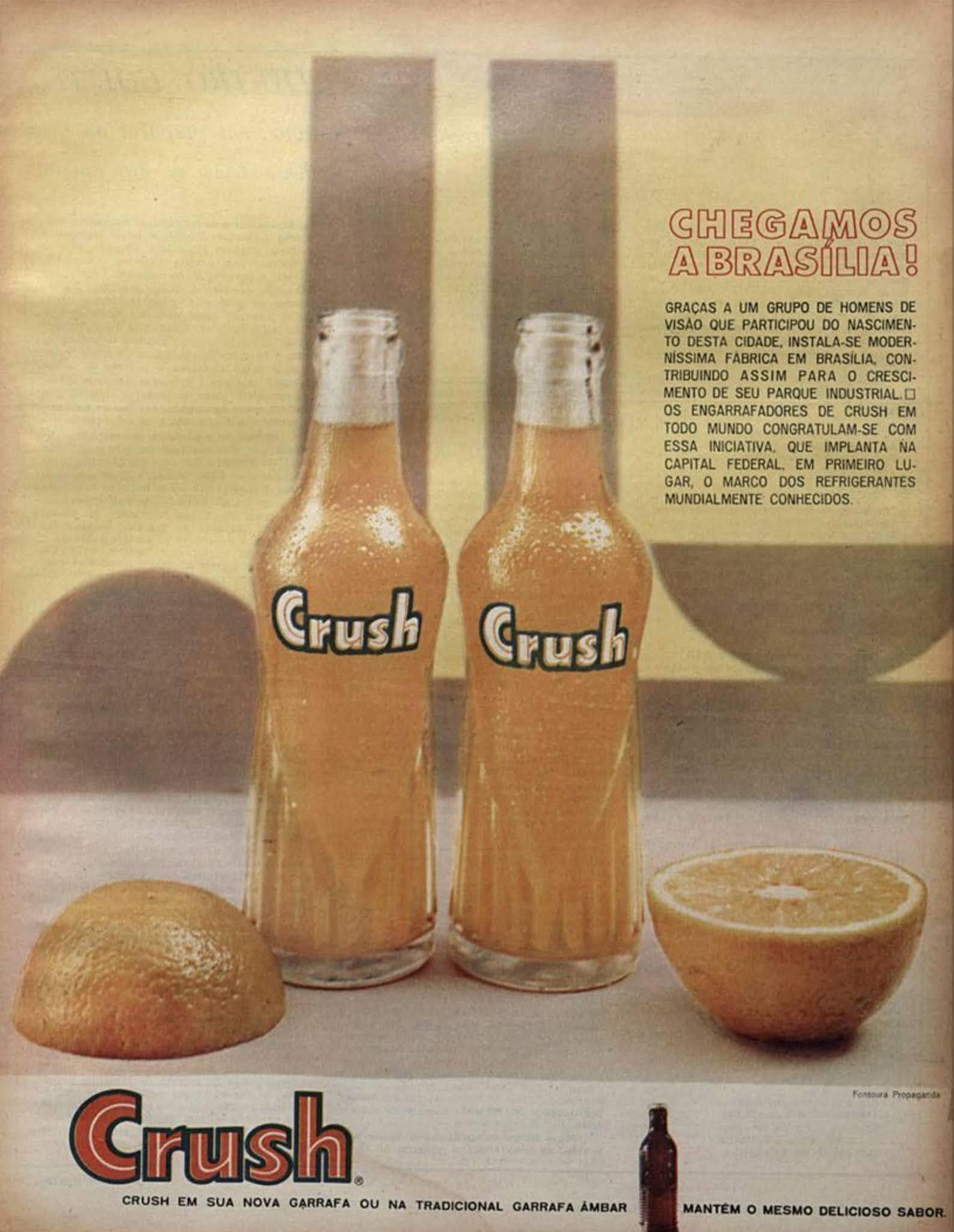 Propaganda do Refrigerante Crush em homenagem à Brasília veiculada em 1963