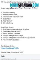 Karir Surabaya di PT. Tiki Jalur Nugraha Ekakurir (JNE) Surabaya Agustus 2020