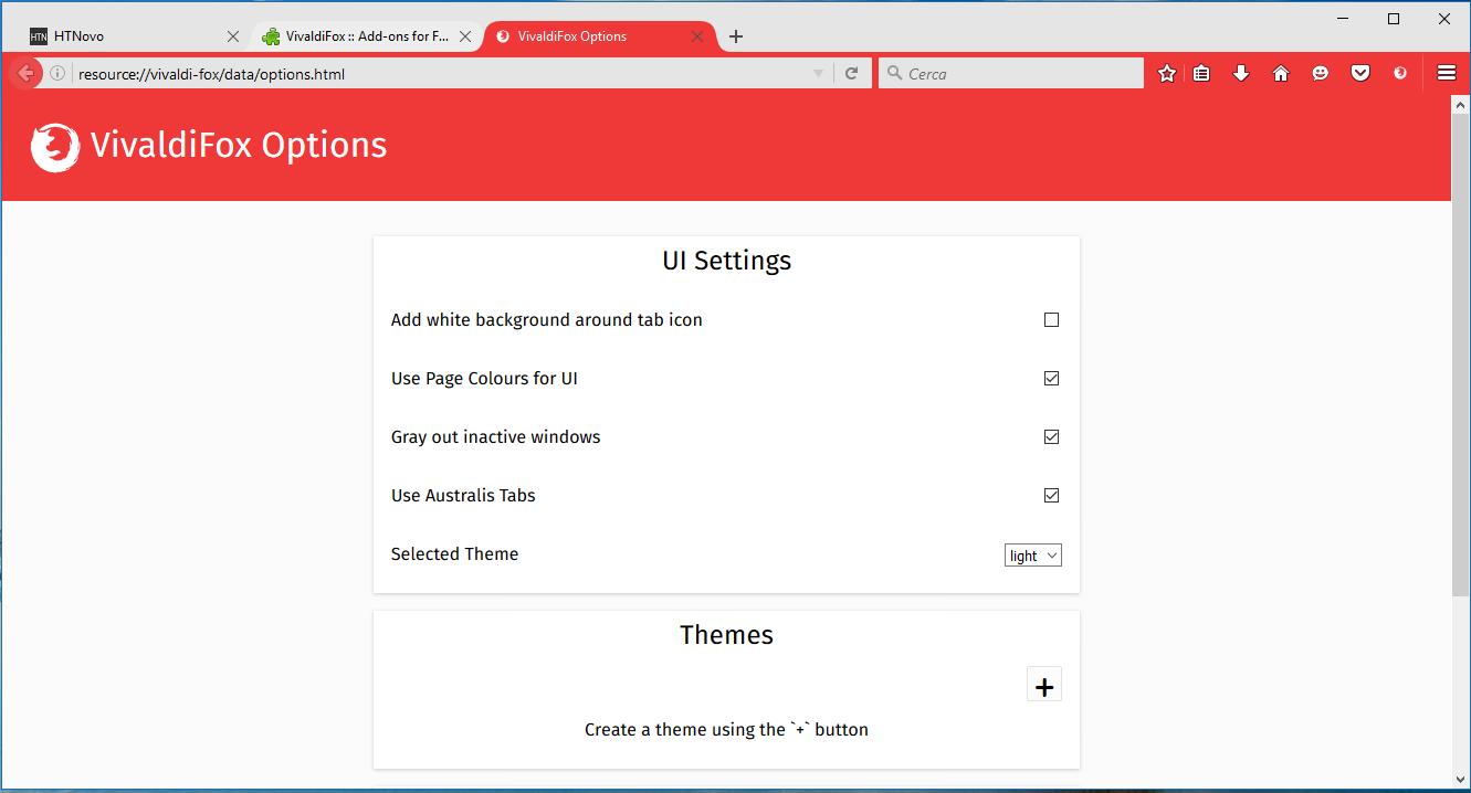 Diverse opzioni di Impostazioni in VivaldiFox HTNovo