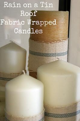 Fabric Wrapped Candles {rainonatinroof.com} #candle #fabric #craft
