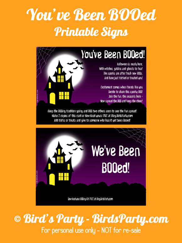 FREE You've Been BOOed Printable Halloween Signs - BirdsParty.com