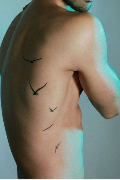 Birds Tattoo on Rib for Men