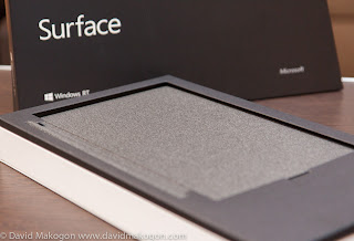First thing seen after opening the box: The felt backing of the Touch keyboard.