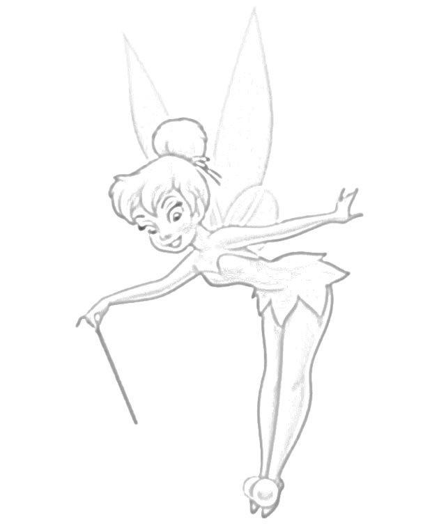 Tinkerbell Dancing with Music Box Coloring Page - NetArt ... | 754x640