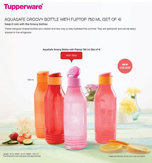 Aquasafe Groovy Bottle with fliptop 750 M (Set of 4)