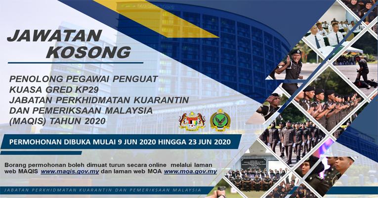 Kekosongan Terkini di Jabatan Perkhidmatan Kuarantin dan Pemeriksaan Malaysia (MAQIS)