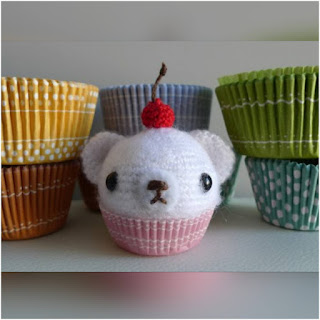 patron amigurumi Oso mini cupcake all about ami