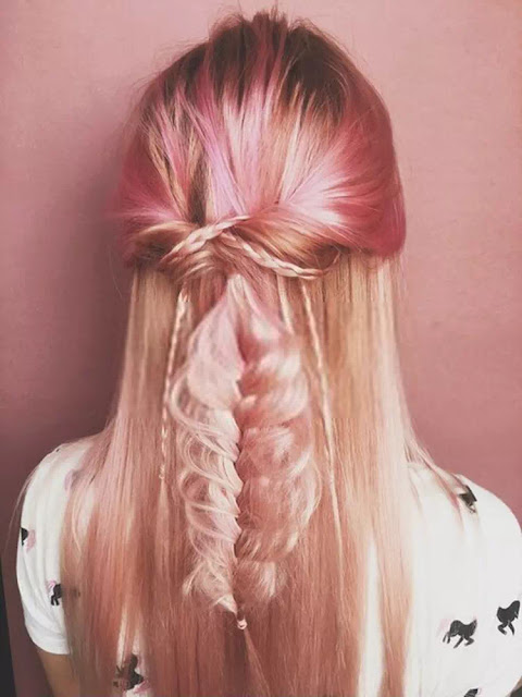pink shade hairstyle back view