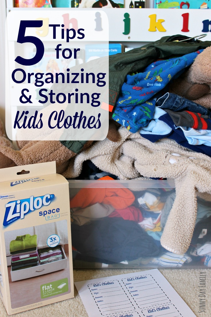 Organize & store kid's clothes to save time, space, and money! These easy clothing storage tips will help you rotate children's clothes by season or for siblings!