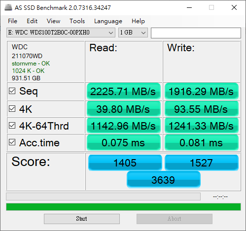 AS SSD Benchmark WD SN500 1TB