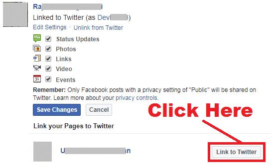 how to link facebook page with twitter account