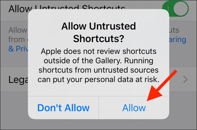 """اضغط على """"السماح"""" للسماح بتشغيل اختصارات غير موثوق بها على جهازك"""