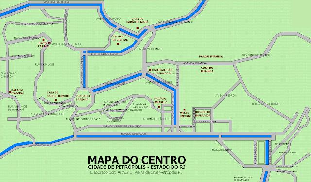 Mapa do centro de Petrópolis
