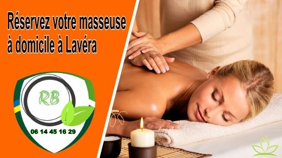 Réservez votre masseuse à domicile à Lavéra;