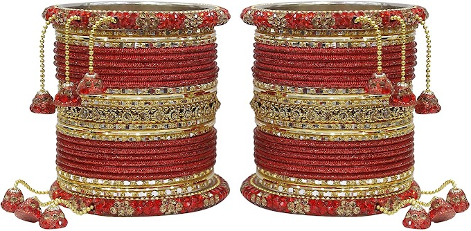 Much More Desginer Red Ethnic Collection of Latakhan Bangles