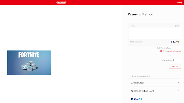 Nintendo Switch 13,500 V-Bucks Fortnite Mega Drop payment methods credit card eShop PayPal