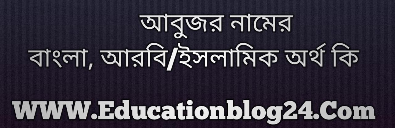 Abuzar name meaning in Bengali, আবুজার নামের অর্থ কি, আবুজার নামের বাংলা অর্থ কি, আবুজার নামের ইসলামিক অর্থ কি, আবুজার কি ইসলামিক /আরবি নাম