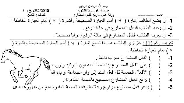 ورقة عمل رفع الفعل المضارع- الصف الثامن