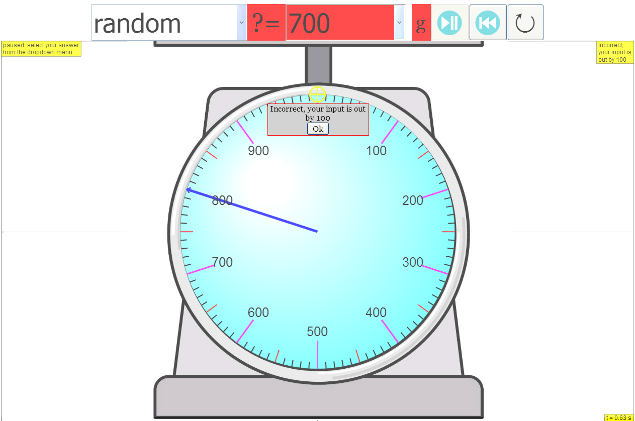 Mass Or Weighing Scale Model Javascript Simulation Applet