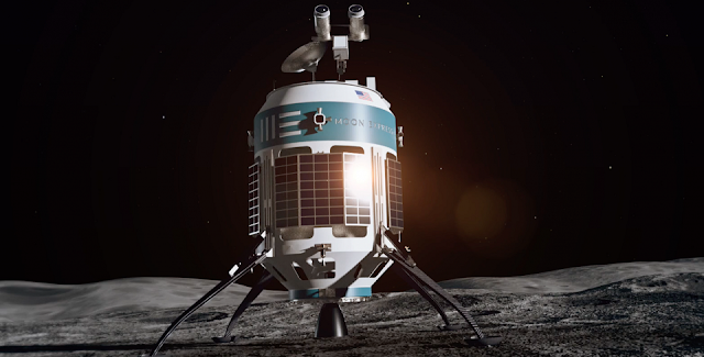 Artist's rendering of the MX-1 shortly after landing on the Moon. Image Credit: Moon Express