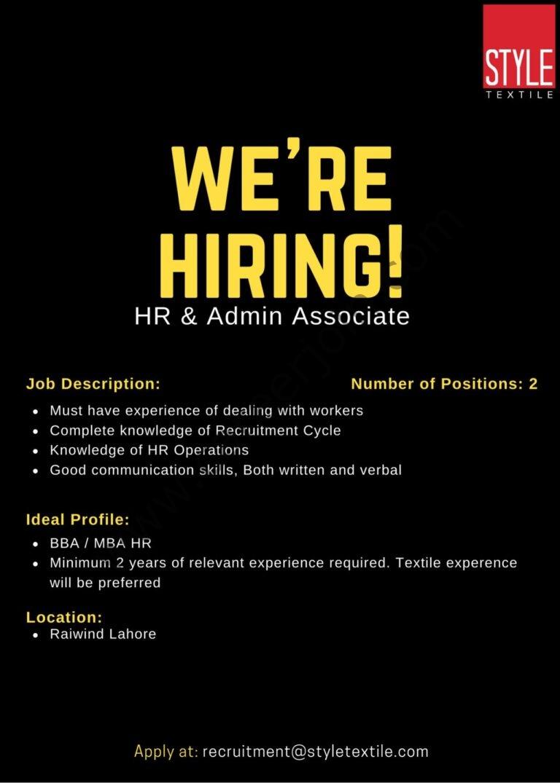 Style Textile Pvt Ltd Jobs HR & Admin Associate