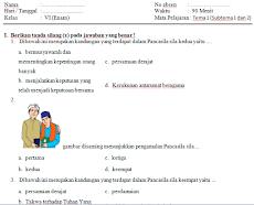 100+ Contoh Soal UTS/PTS Tematik Kelas 6 SD/MI Semester 1  Kurikulum 2013