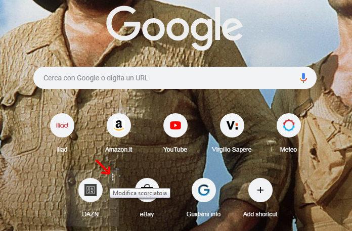 Chrome 69 pagina Nuova scheda pulsante modifica scorciatoia sito rapido