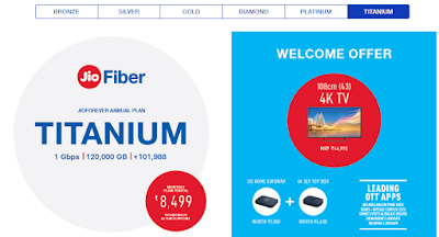 jio fiber titainum welcome offer