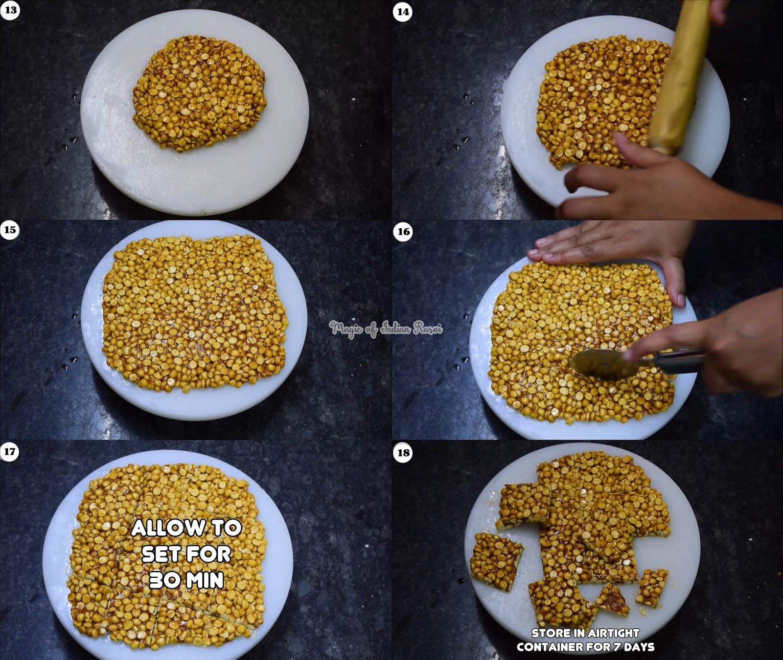 Daliya Chikki - Roasted Puff Chana Chikki Recipe - दालिया  दाड़िया चिक्की रेसिपी - Priya R - Magic of Indian Rasoi