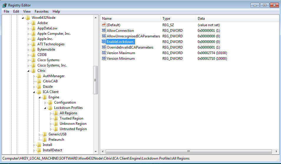Citrix Receiver Configuration Manager: No Value could be found for
