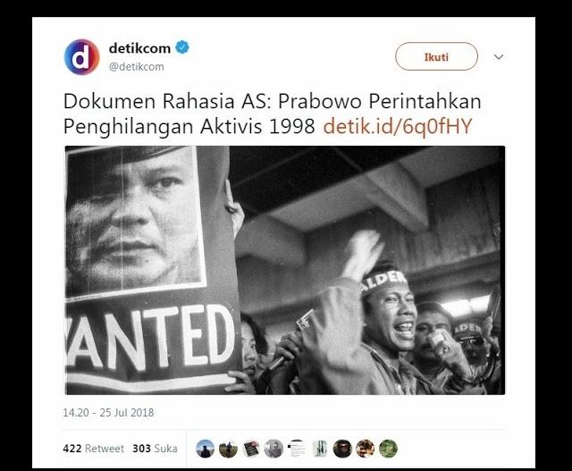 """Jelang Pilpres, Detikcom Kembali Angkat """"Penculikan"""" Prabowo, Begini Sindiran Telak Warganet"""
