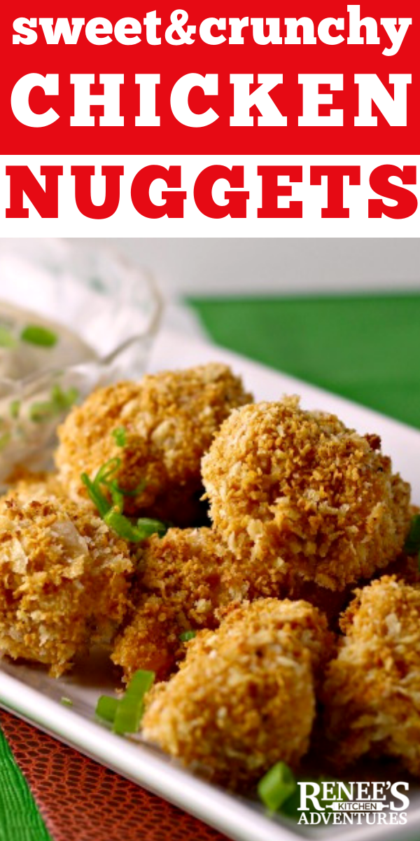 Sweet n' Crunchy Chicken Nuggets w/Spicy Mustard Dip | Renee's Kitchen Adventures recipe for baked chicken nuggets that are sweet and crunchy and served with a spicy mustard dip. Perfect for game day or anytime you want a chicken nugget snack! Kid friendly without the spicy mustard dip! Healthy because they are baked,not fried and contain only whole chicken breast! #chicken #chickennuggets #homemadechickennuggets