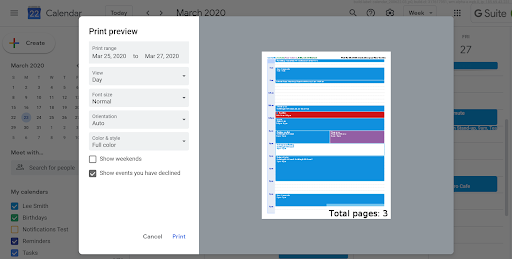 Full color support and more updates to printing on Google Calendar 1