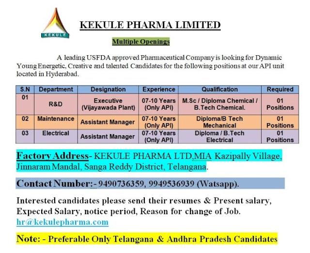 Kekule Pharma | Multiple openings in R&D/Maintenance/Electrical at Hyderabad | Send CV