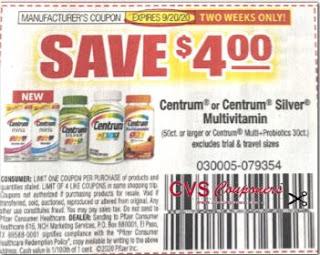 "$4.00/1-Centrum or Centrum Silver Multivitamin 50 ct or larger or Multi+Probiotics 30 ct Coupon from ""RetailMeNot"" insert week of 9/6/20"