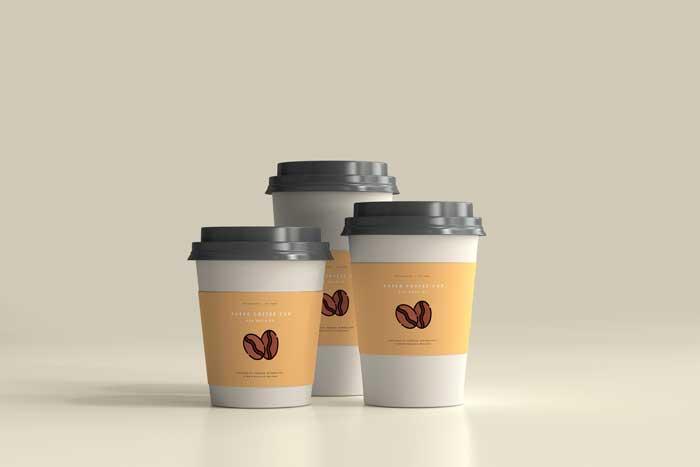 Coffee Scene Paper Cup PSD Mockup