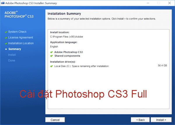 Hướng dẫn cài đặt Photoshop CS3 Full đơn giản, nhanh chóng c