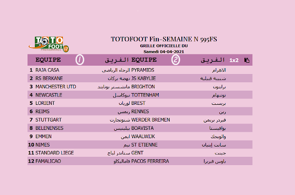 PRONOSTIC TOTOFOOT 12 Fin-SEMAINE N° 595FS