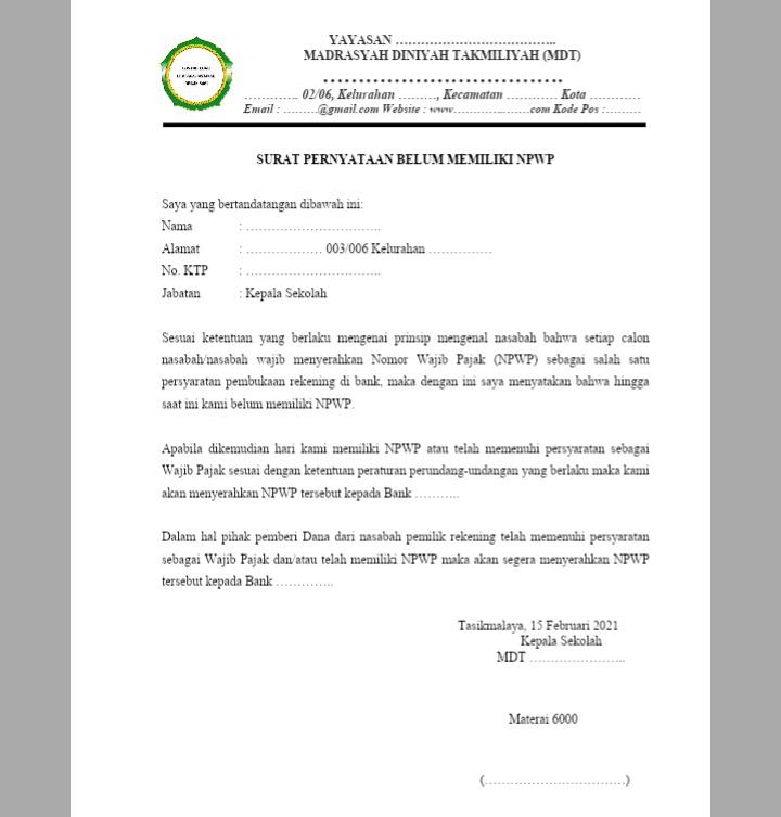 Surat-Keterangan-Belum-Memiliki-NPWP-Lembaga