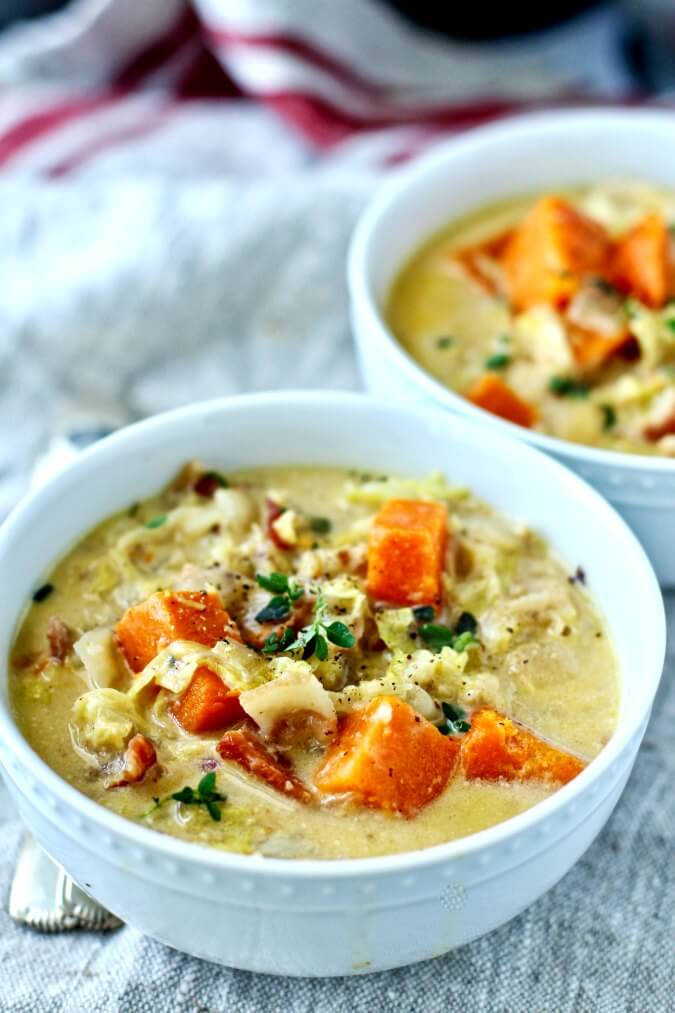 Savoy cabbage and sweet potato soup